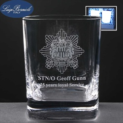 Pair of Italian crystal glasses, engraved to commemorate 25 years service.