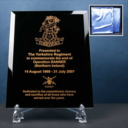 Glass Plaque, engraved for Military Presentation Award.