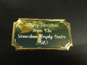 Inexpensive engraved brass plaque, self adhesive.