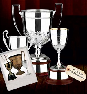 Image of before and after restoration of old Trophy Cups..