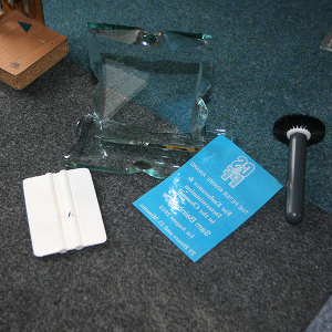 Tools used in the application of glass sandblasting masks.