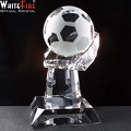 Optical Crystal Football Trophy for engraving.