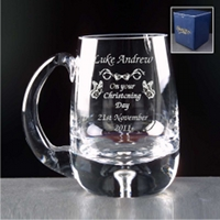 Engraved Glass Tankard Christening Gift for Boy.