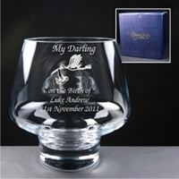 Engraved Glass Bowl. Christening Gift for a new Mother.