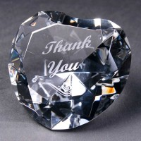 "Optical Crystal Heart, engraved ""Thank You""."
