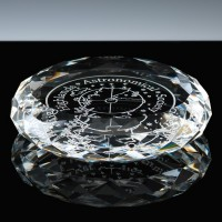 Optical Crystal Award 3.5 inch Round Paperweight, Single, Velvet Casket