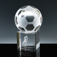 Optical Crystal Sports Trophies 3 inch Football, Single, Velvet Casket