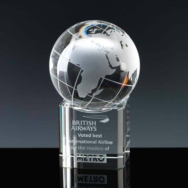 Optical Crystal Award 3 inch Globe Base, Single, Velvet Casket