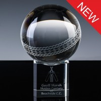 Optical Crystal Sports Trophies 4 inch Cricket Ball, Single, Velvet Casket