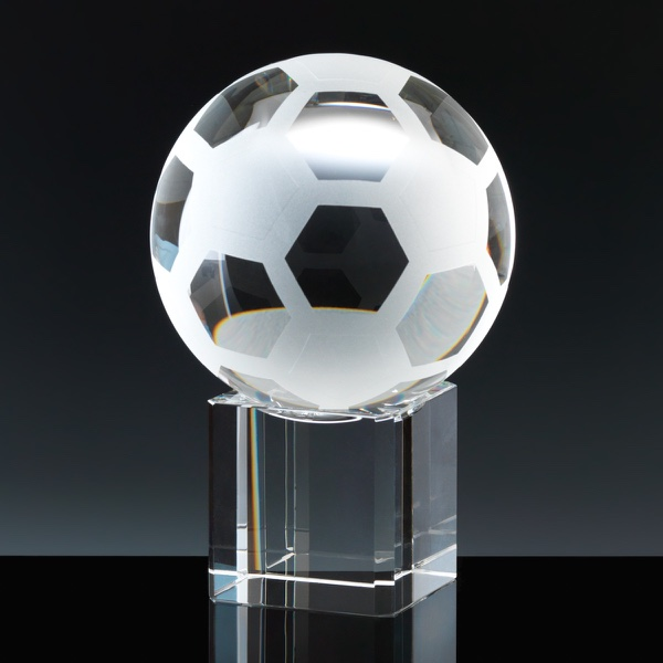 Optical Crystal Sports Trophies 4 inch Football, Single, Velvet Casket