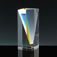 Optical Crystal Award 5 inch Tain Column, Single, Velvet Casket