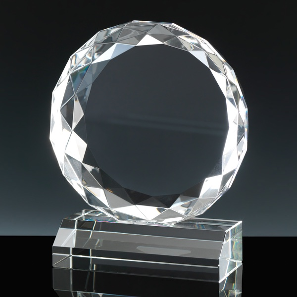 Optical Crystal Award 7 inch Glen Finnan, Single, Velvet Casket