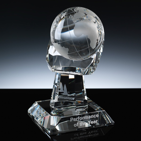 Optical Crystal Award 8.5 inch Globe Hand, Single, Velvet Casket