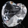 Optical Crystal 2.25 inch Engraved Heart Someone Special, Single, Blue Velvet Lined Casket