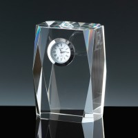 Optical Crystal Award Fantasia Clock, Single, Velvet Casket
